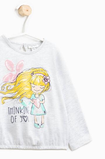 T-shirt with elasticated hem, Light Grey Marl, hi-res
