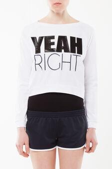 T-shirt corta maniche lunghe, Bianco, hi-res