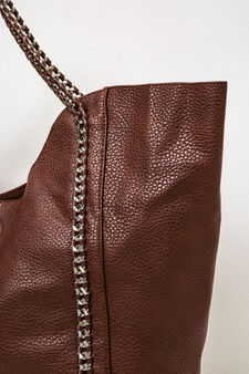 Solid colour handbag with chain, Brown, hi-res