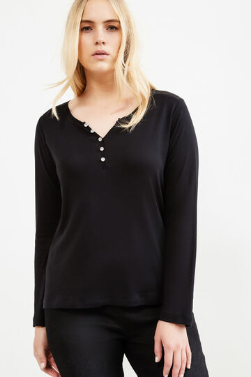 Curvy T-shirt with diamanté buttons on neck, Black, hi-res