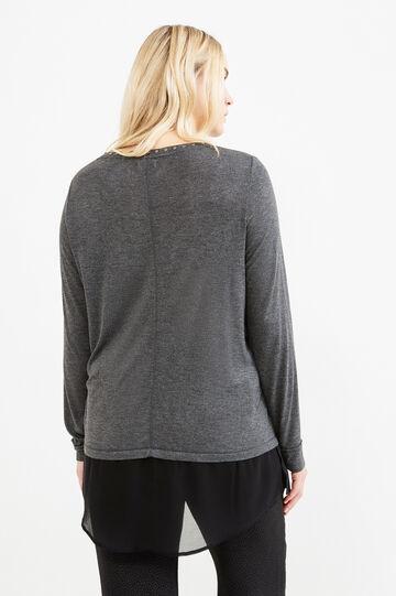 Curvy faux layered 100% viscose T-shirt, Grey Marl, hi-res
