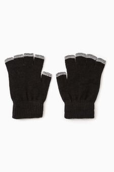 Fingerless gloves with contrasting edging, Black/Grey, hi-res