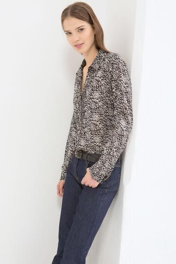 Patterned blouse in 100% cotton, Black, hi-res