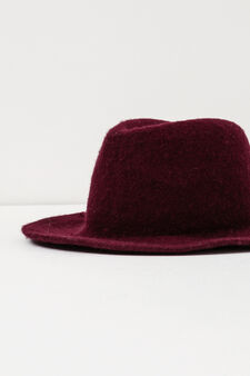 Wide brim hat in wool, Red, hi-res