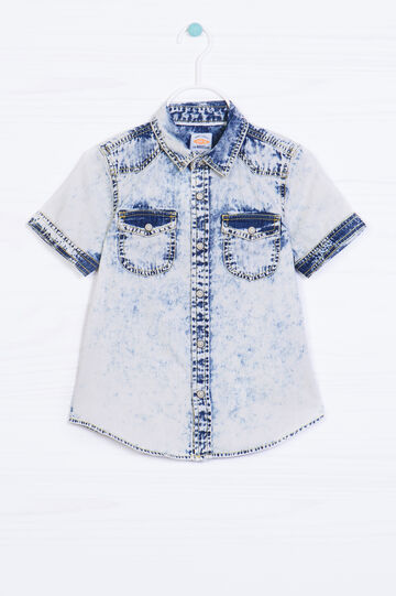 Faded effect denim shirt with print