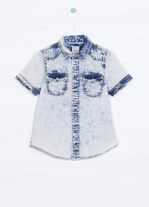Faded effect denim shirt with print | OVS