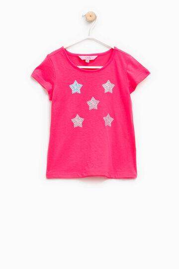 Camiseta con cuello redondo, Rosa fucsia, hi-res