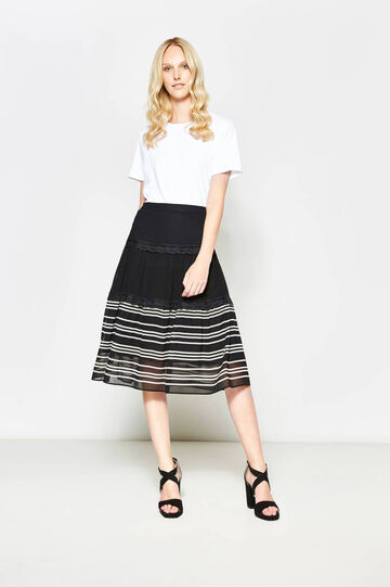 Striped longuette skirt with lace, White/Black, hi-res