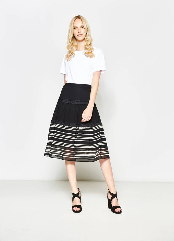 Striped longuette skirt with lace | OVS