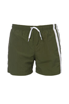 Swim boxer shorts with contrasting bands, Green, hi-res