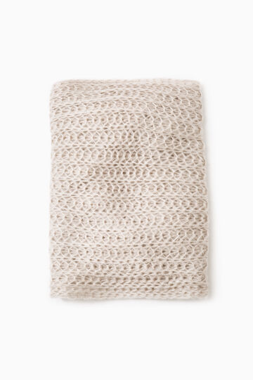 Solid colour knitted scarf, Chalk White, hi-res