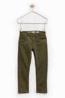 Solid colour slim-fit chino trousers, Moss Green, hi-res