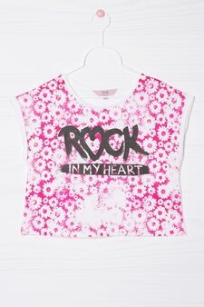 Printed T-shirt in 100% cotton, White/Pink, hi-res