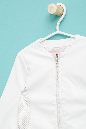 Cazadora en color liso con diseño calado y strass, Blanco nata, hi-res