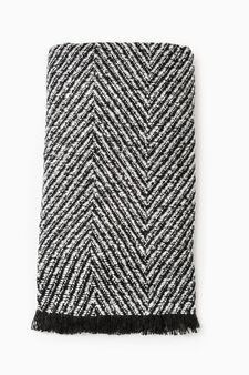 Scarf with geometric pattern, Black/White, hi-res