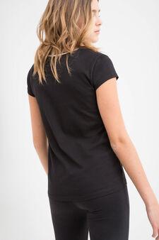 Teen print cotton T-shirt, Black, hi-res