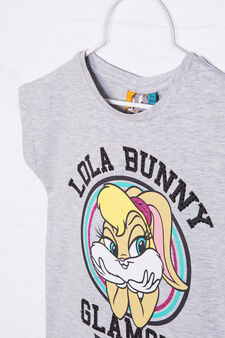 T-shirt cotone stretch Lola Bunny, Grigio melange, hi-res