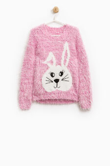 Solid colour pullover with embroidery and sequins, Pink, hi-res
