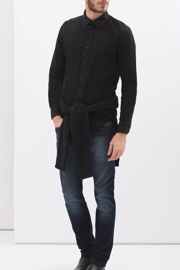 Camicia slim fit puro cotone, Nero, hi-res