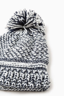 Knit beanie cap with pompom, Navy Blue, hi-res