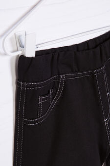 Solid colour 100% cotton shorts, Black, hi-res