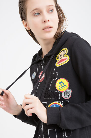 Cotton blend sweatshirt with patches and inserts., Black, hi-res