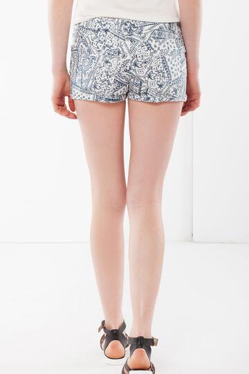 Shorts aderenti con risvolto, Bianco/Blu, hi-res