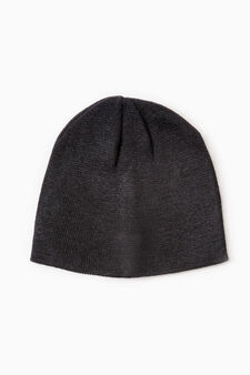 Cappello a cuffia lavorato tricot, Nero, hi-res
