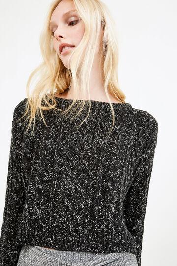 Pullover corto misto cotone tricot, Nero/Bianco, hi-res