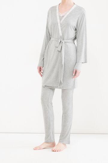 100% viscose polka dot robe, Grey Marl, hi-res