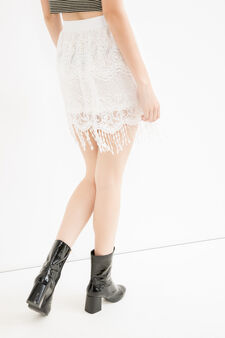 High waist openwork skirt, White, hi-res