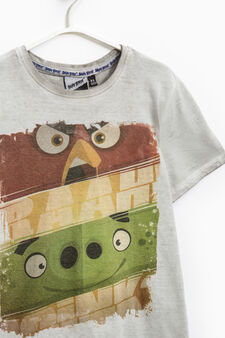 Cotton T-shirt with Angry Birds print, Grey, hi-res