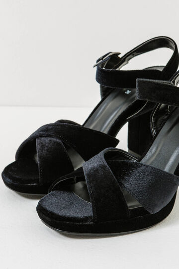 Sandals with crossover strap, Black, hi-res