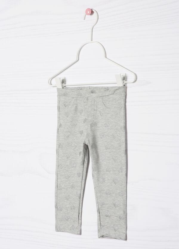 Pantaloni stretch fantasia cuori | OVS