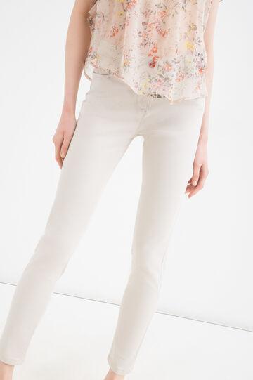 Pantaloni misto modal e cotone, Bianco gesso, hi-res