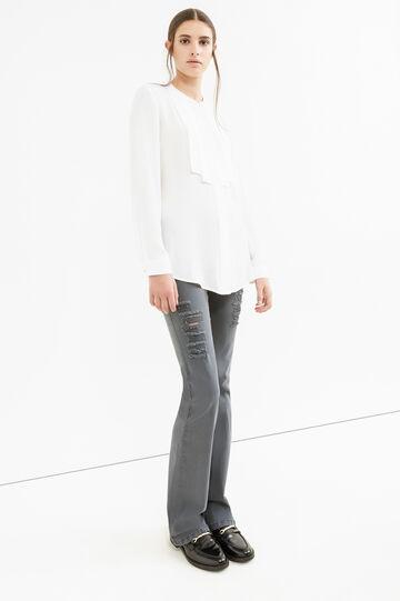 Jeans stretch tinta unita con strappi, Grigio, hi-res