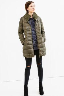 Down jacket with high ribbed neck, Dark Green, hi-res