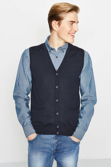 100% cotton gilet with buttons, Navy Blue, hi-res