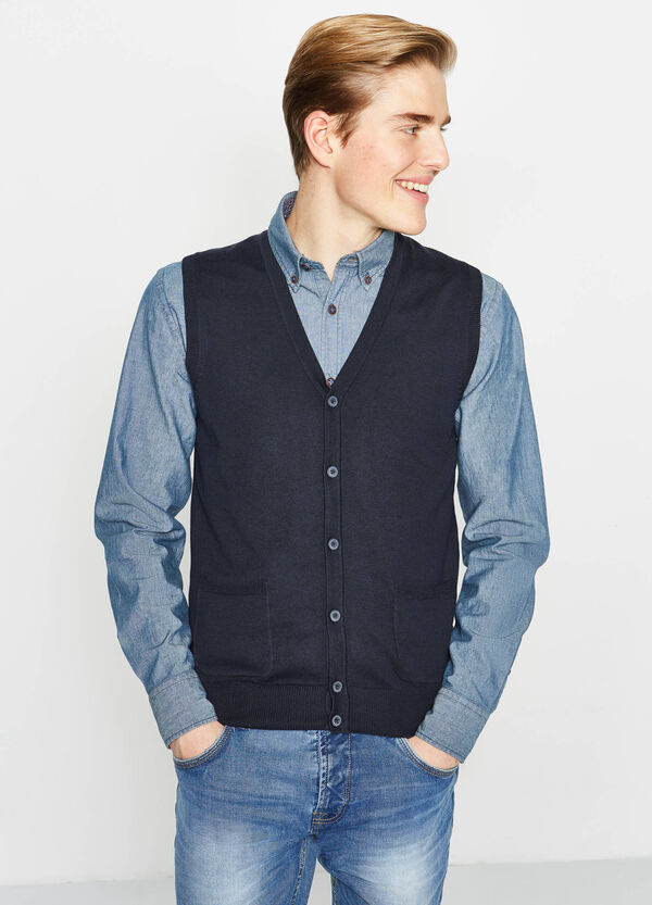 100% cotton gilet with buttons | OVS
