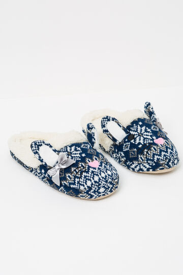 Slippers with ears and bow, Navy Blue, hi-res