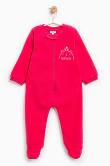 Sleep suit with embroidery on chest, Coral Pink, hi-res