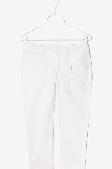 Trousers with bow, White, hi-res