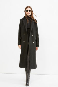 Long wool coat with two buttons, Black, hi-res
