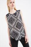 Patterned cotton sleeveless blouse, Black/White, hi-res