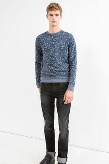 Cotton blend sweatshirt with floral print, Blue Marl, hi-res
