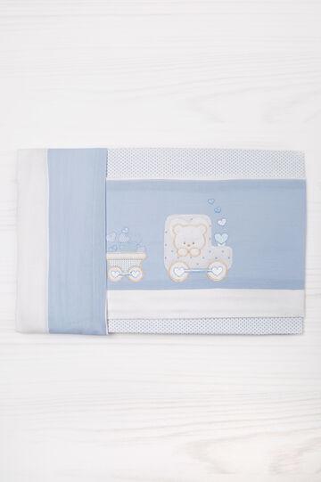 Completo culla ricami puro cotone, Bianco/Azzurro, hi-res