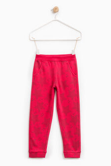 Cotton joggers with star pattern, Red, hi-res