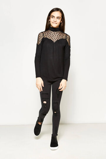 Teen T-shirt with lace and high neck, Black, hi-res