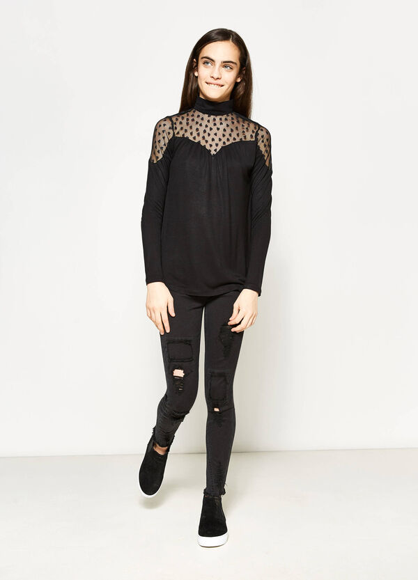 Teen T-shirt with lace and high neck | OVS