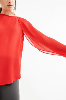 Shirt with boat neck, Red, hi-res